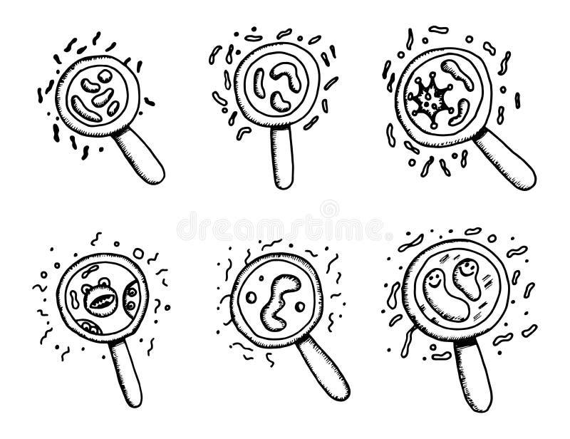 Микробы и бактерии под вектором увеличенным лупой иллюстрация вектора