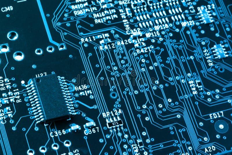 Крупный план монтажной платы компьютера стоковое изображение rf
