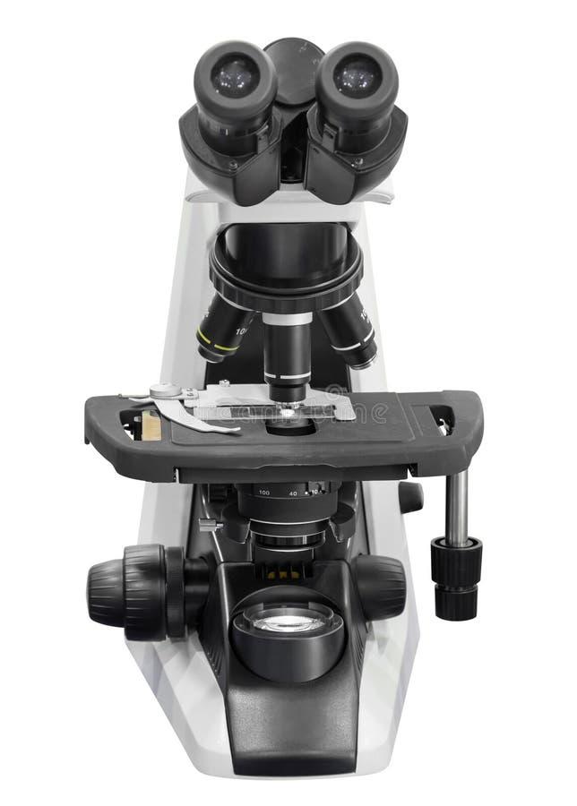 микроскоп изолированный на белой предпосылке с путем клиппирования стоковая фотография