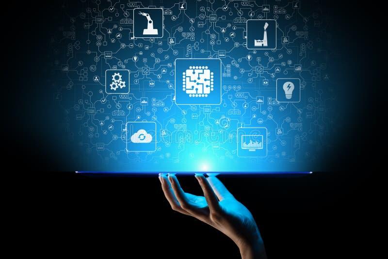 Микросхема, искусственный интеллект, автоматизация и интернет вещей IOT, интеграции цифров изолированная принципиальной схемой бе иллюстрация вектора