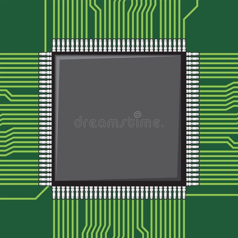 Микросхема компьютера иллюстрация штока