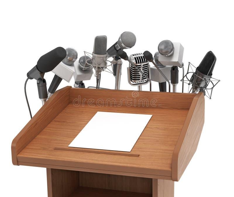Микрофоны встречи конференции с трибуной стоковое изображение rf