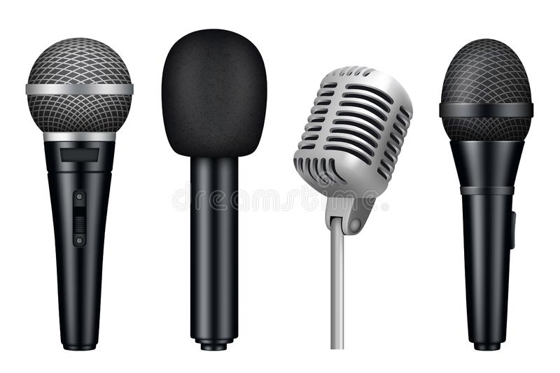 Микрофоны 3d Вектора оборудования mic студии музыки изображения разностороннего реалистические винтажных изолированных микрофонов иллюстрация вектора