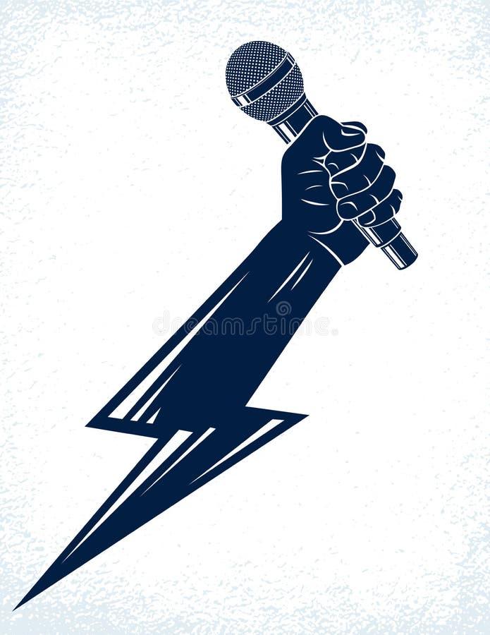 Микрофон в руке в форме молнии, сражении рэпа рифмует музыка, петь караоке или standup комедия, логотип вектора или бесплатная иллюстрация