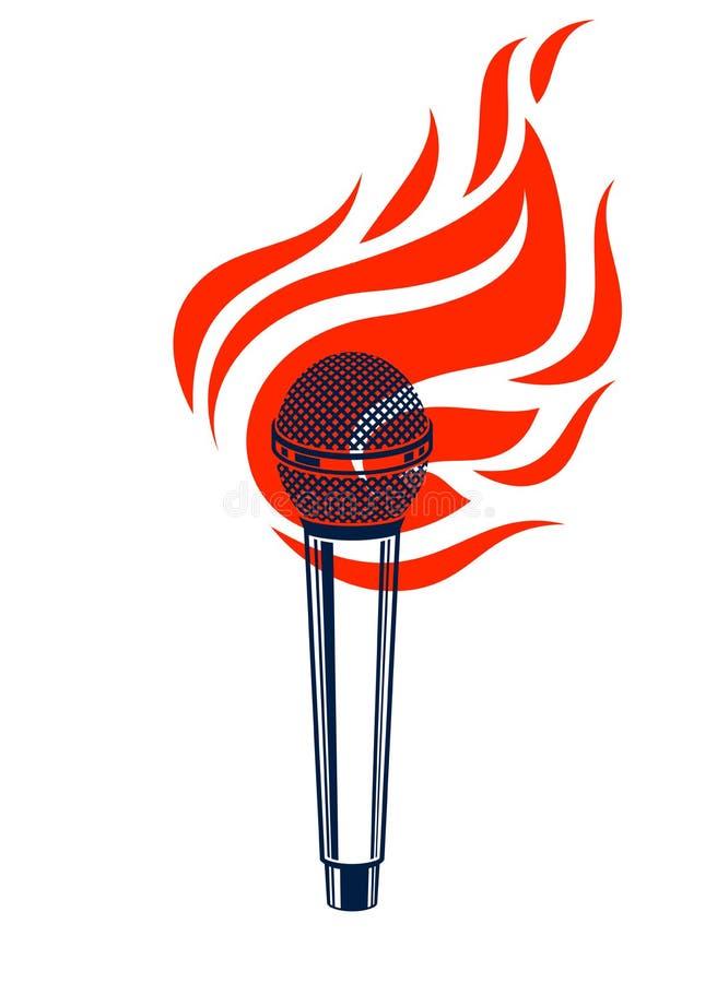 Микрофон горящий, горячий mic в пламенах, сражение рэпа рифмует музыка, петь караоке или standup комедия, логотип вектора или илл иллюстрация вектора
