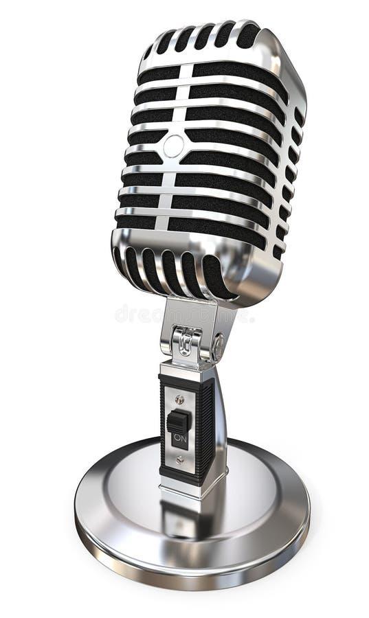 Микрофон года сбора винограда хрома стоковая фотография rf