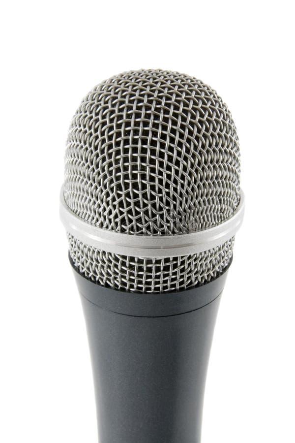 микрофон изолированный предпосылкой над серебряной белизной стоковое изображение rf