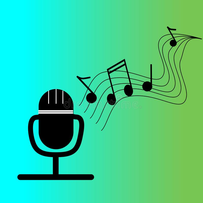Микрофон и музыка иллюстрация вектора