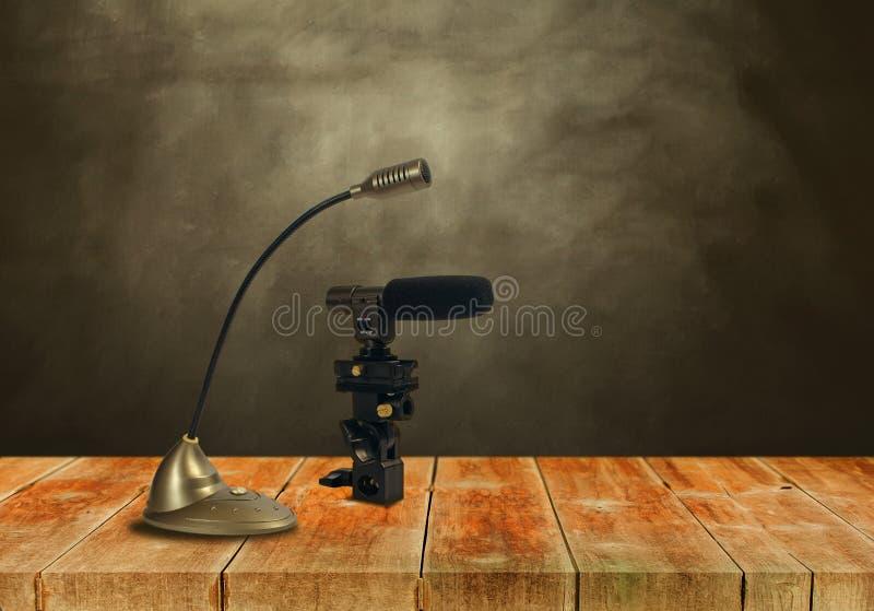 Микрофон конденсатора на woodwalk стоковые изображения rf