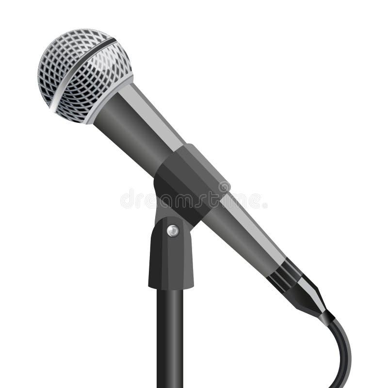 Микрофон на стойке, на белой предпосылке также вектор иллюстрации притяжки corel иллюстрация вектора