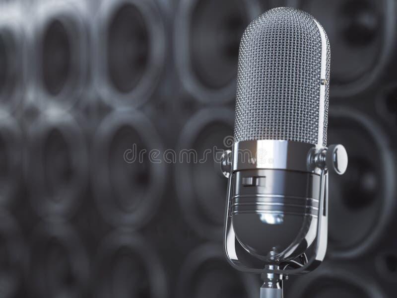 Микрофон на черной предпосылке от профессиональных громкоговорителей и сабвуферов Концепция аудио и музыки иллюстрация штока