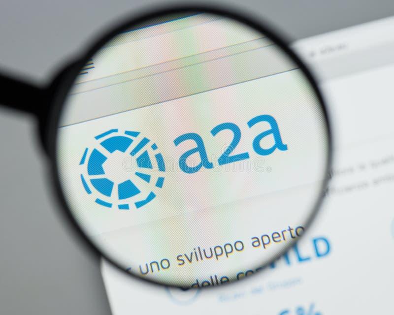Милан, Италия - 10-ое августа 2017: Домашняя страница вебсайта A2A Оно A2A l стоковая фотография