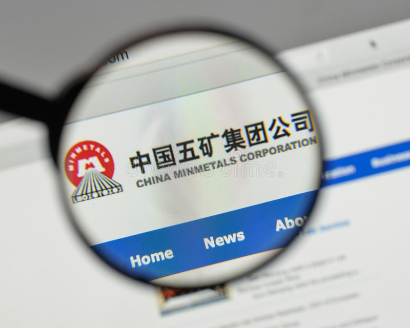 Милан, Италия - 10-ое августа 2017: Минута Китая metals логотип в сети стоковое изображение rf