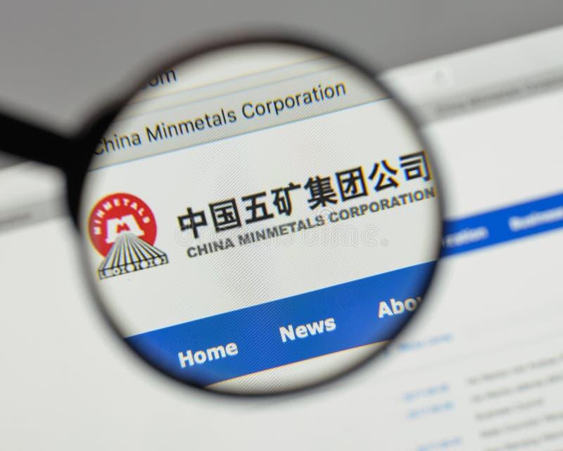 Милан, Италия - 10-ое августа 2017: Минута Китая metals логотип в сети стоковое фото