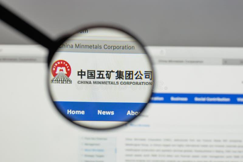 Милан, Италия - 10-ое августа 2017: Минута Китая metals логотип в сети стоковые фотографии rf