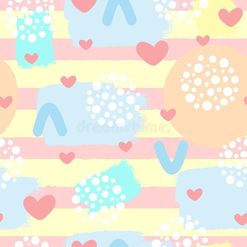 Милая абстрактная безшовная картина с сердцами, ходами щетки и геометрическими формами бесплатная иллюстрация