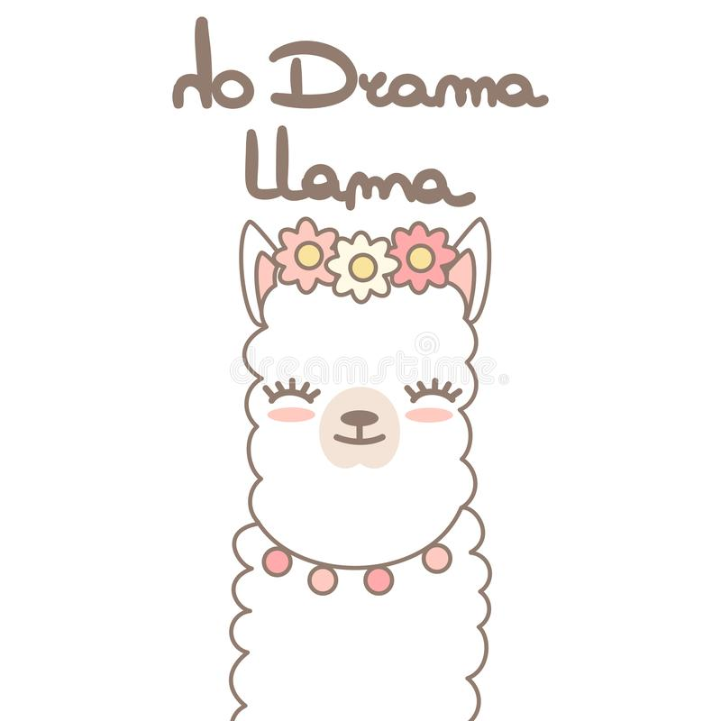 Милая альпака ламы мультфильма с нарисованной рукой помечающ буквами цитату отсутствие иллюстрации карты вектора ламы драмы иллюстрация штока