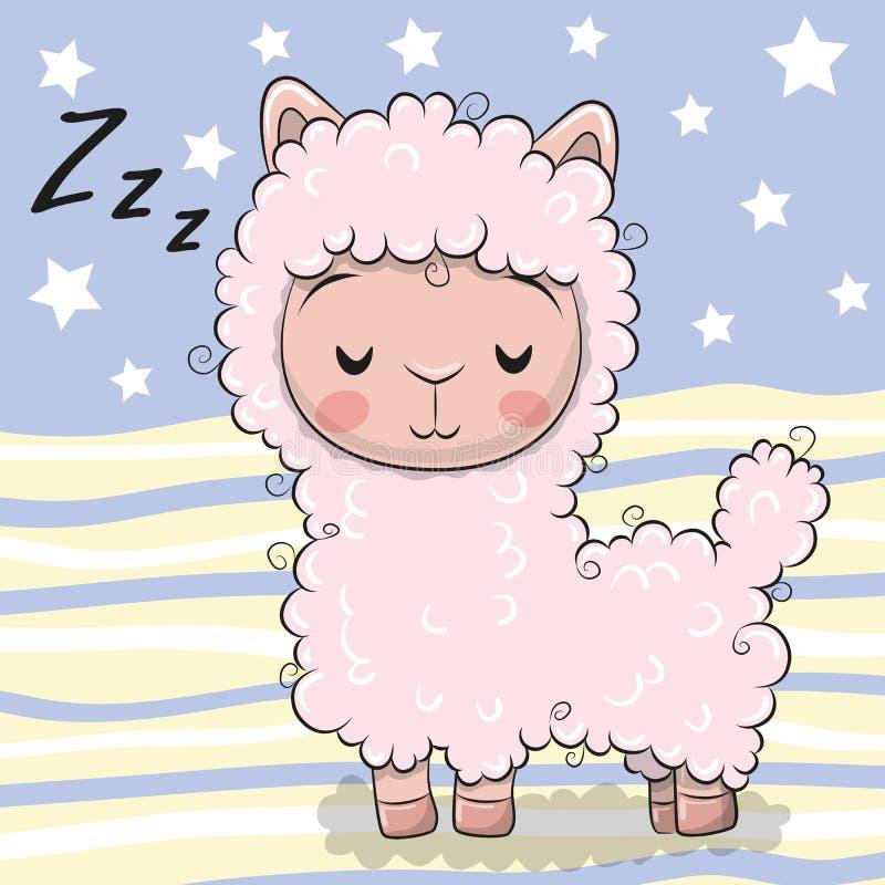 Милая альпака спать шаржа на striped предпосылке иллюстрация вектора