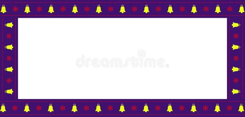 Милая афиша прямоугольника рождества или Нового Года, граница, рамка на белой предпосылке иллюстрация вектора