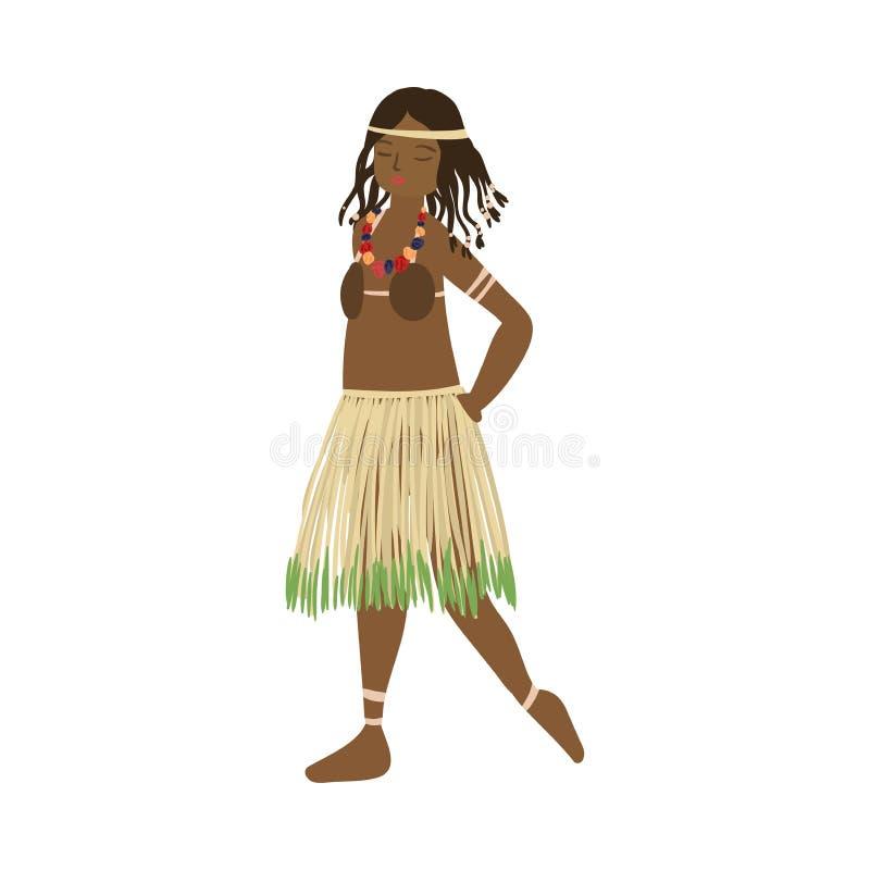 Милая африканская девушка aborigen с красными губами и юбкой завода иллюстрация вектора