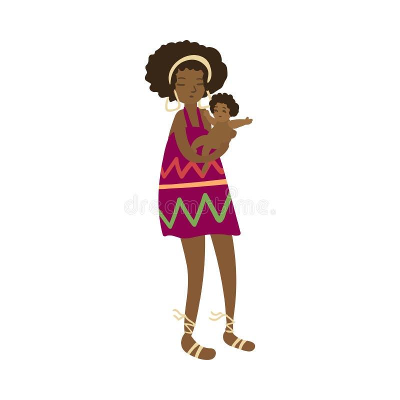 Милая африканская женщина aborigen с ее милым младенцем в руках иллюстрация вектора