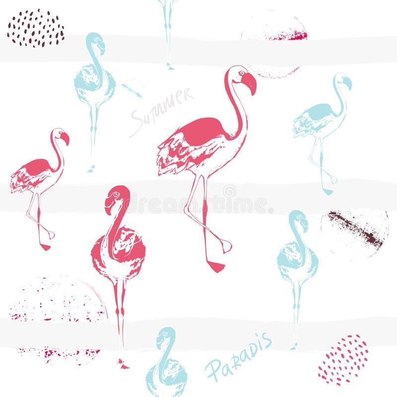 Розовый фламинго Милая африканская птица Безшовная картина вектора Тропическая нежная предпосылка для поверхности, ткани, ткани д иллюстрация вектора