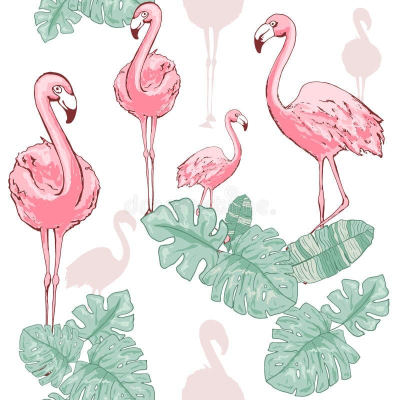 Розовый фламинго Милая африканская птица Безшовная картина вектора Тропическая нежная предпосылка для поверхности, ткани, ткани д иллюстрация штока