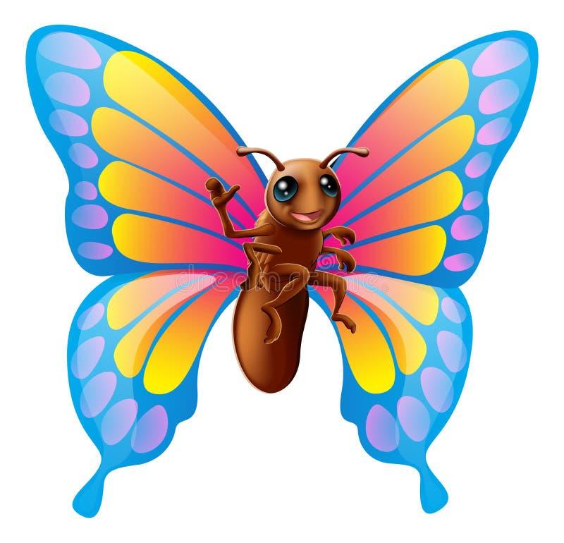 Милая бабочка шаржа иллюстрация вектора