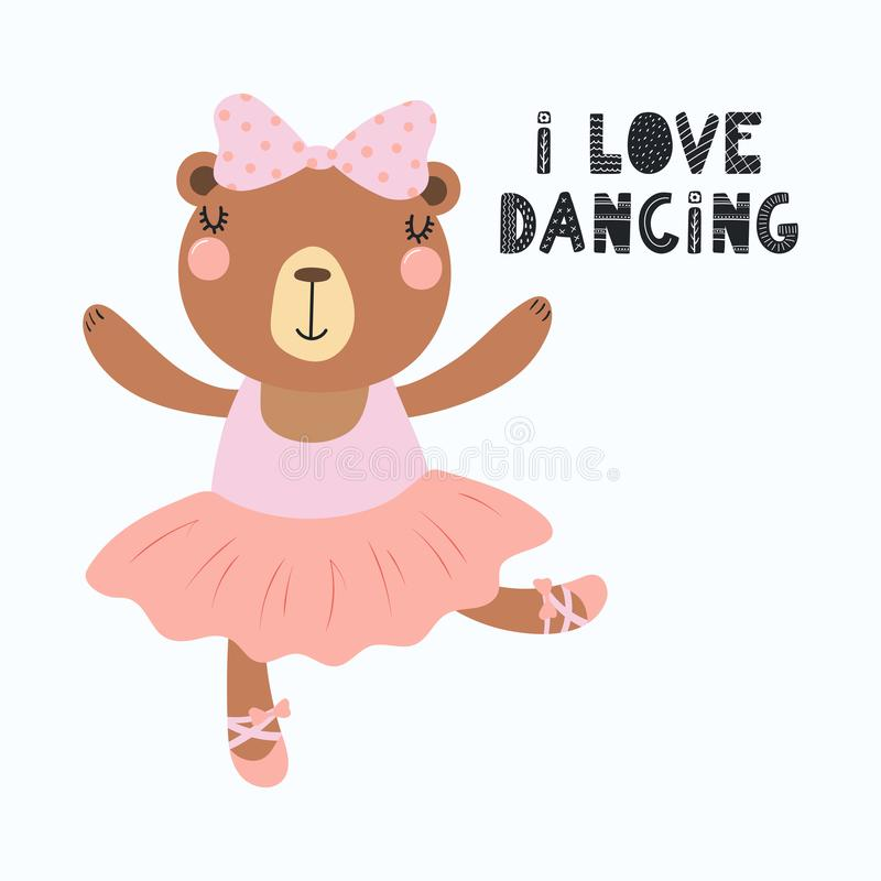 Милая балерина медведя иллюстрация вектора