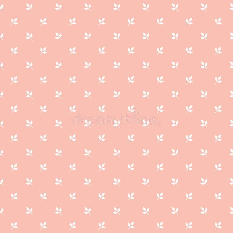 Милая безшовная картина печати лист на коралле краснеет пинк иллюстрация вектора