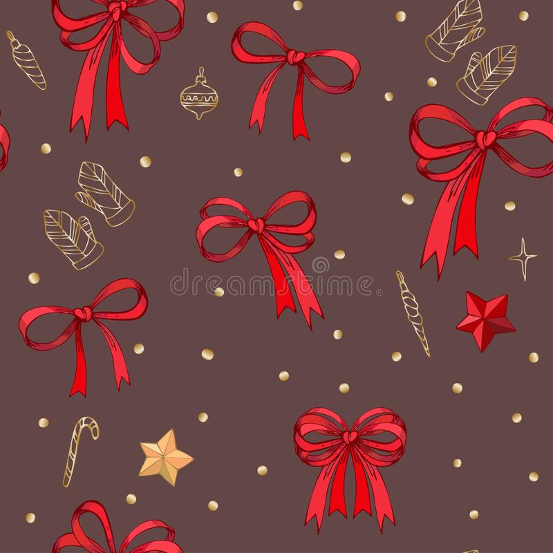 Милая безшовная картина со смычками и звездами красивой руки вычерченными Иллюстрация Doodle Дизайн ткани, обои, оборачивая иллюстрация вектора