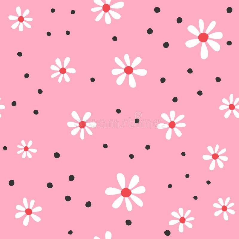 Милая безшовная картина с абстрактными цветками и круглыми пятнами Girly флористическая печать иллюстрация штока