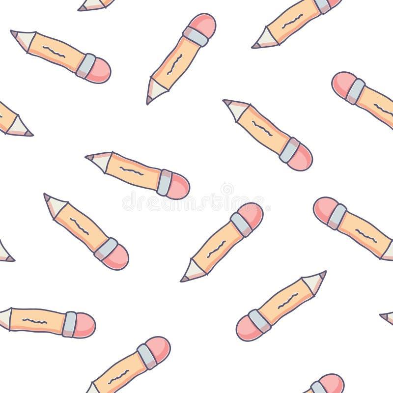 Милая безшовная картина с карандашами школы doodle иллюстрация вектора