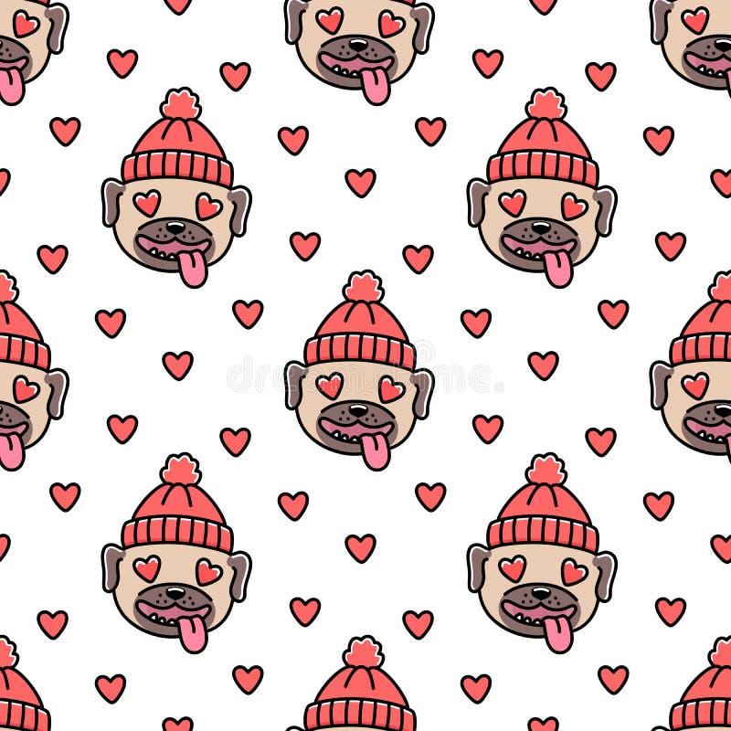 Милая безшовная картина с мопсом породы собаки в красном цвете связала шляпу, withheart на счастливый день ` s валентинки иллюстрация вектора