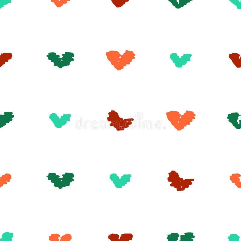 Милая безшовная картина с необыкновенными яркими нарисованными вручную сердцами бесплатная иллюстрация