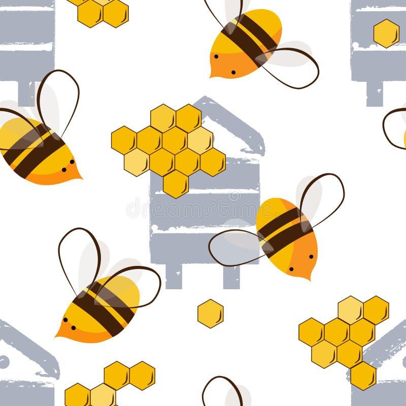 Милая безшовная картина с пчелами летания и пчелами меда Иллюстрация вектора, белая предпосылка иллюстрация штока