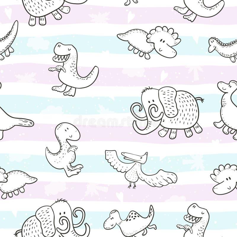 Милая безшовная картина с смешными динозаврами также вектор иллюстрации притяжки corel иллюстрация вектора
