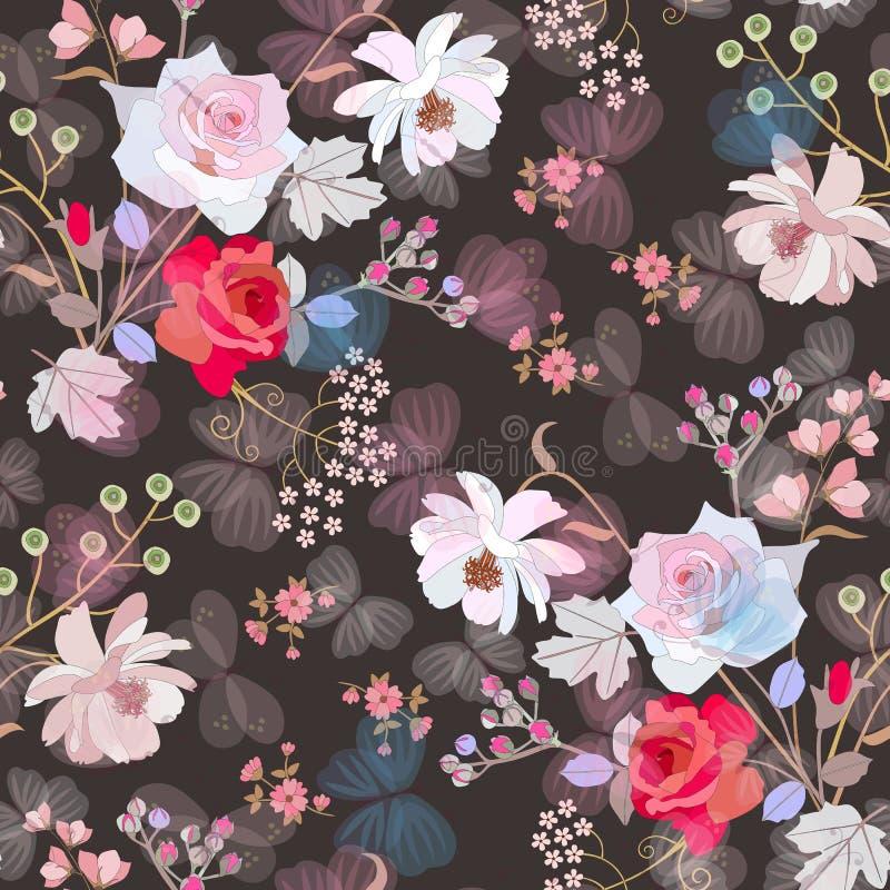 Милая безшовная картина с цветками сада и бабочками летая на темной предпосылке Весна или дизайн лета Печать для ткани бесплатная иллюстрация