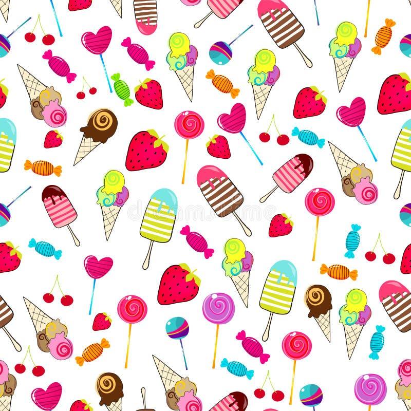 Милая безшовная ретро предпосылка конфет иллюстрация штока