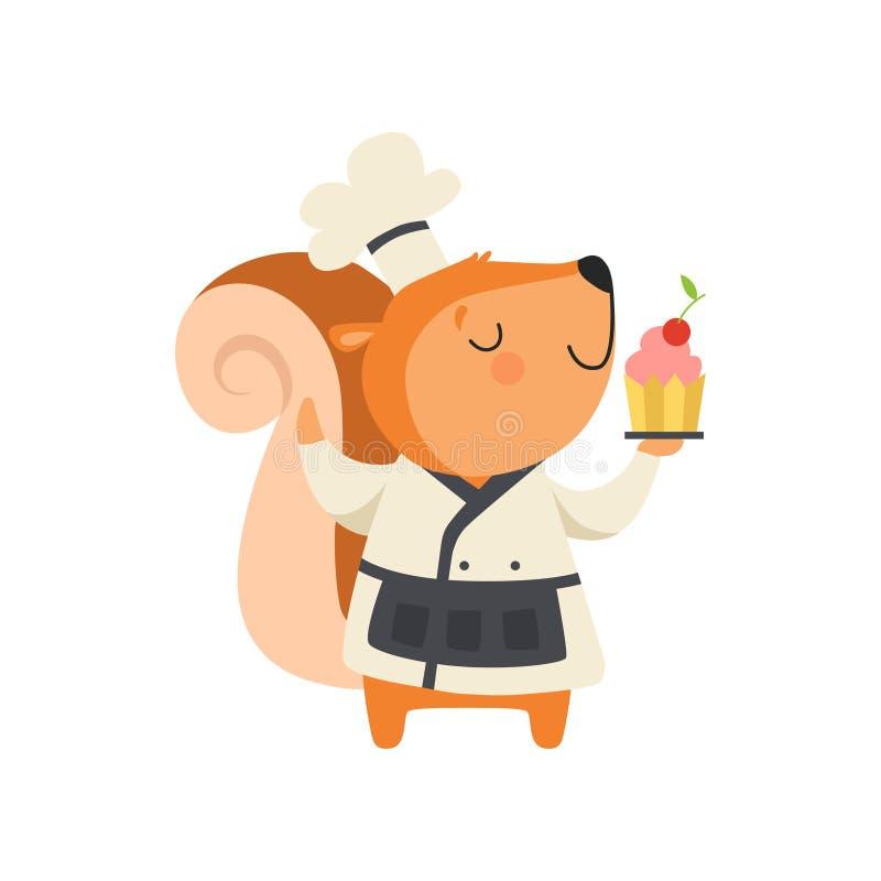 Милая белка в пирожном удерживания формы шеф-повара, характере мультфильма животном варя иллюстрацию вектора на белизне иллюстрация вектора
