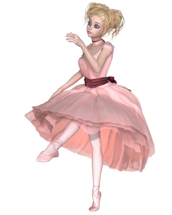 Милая белокурая балерина в розовой балетной пачке, танцы бесплатная иллюстрация