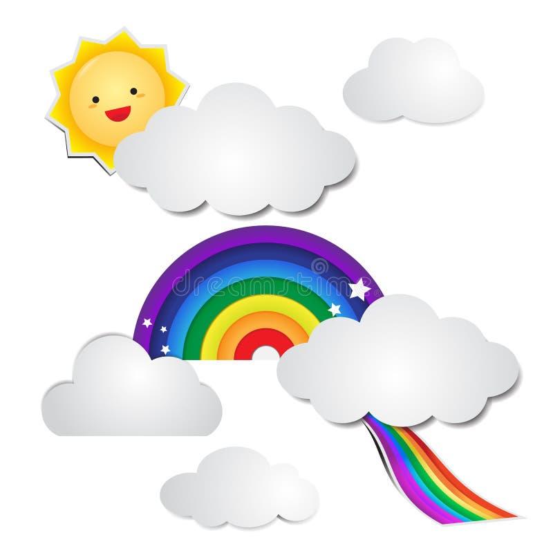 Милая бумага радуги и бумага облака с солнцем иллюстрация вектора