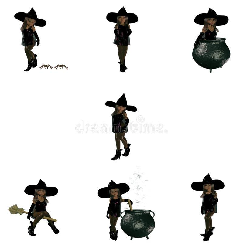 милая ведьма девушки иллюстрация штока
