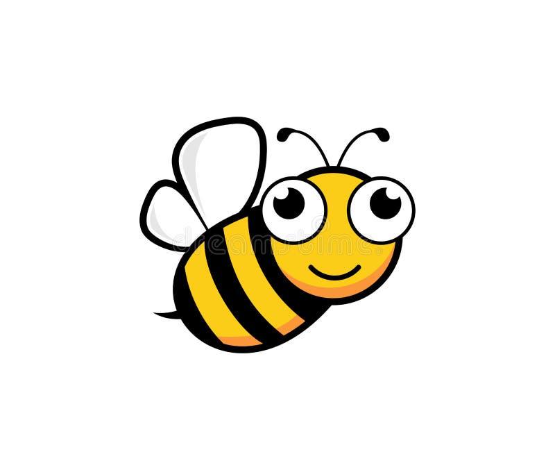 милая воодушевленность дизайна логотипа вектора характера талисмана пчелы меда иллюстрация вектора