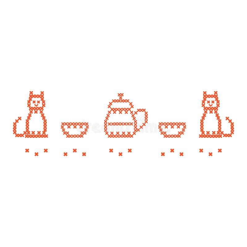 Милая вышивка креста иллюстрации вектора чайника с 2 чашками бесплатная иллюстрация
