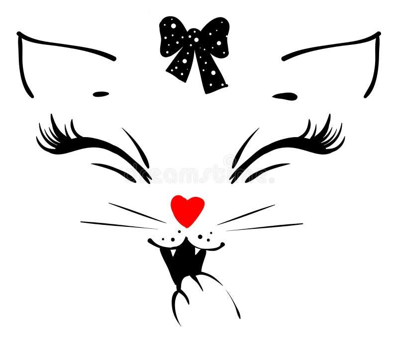 Милая голова девушки кота говорит meow и покрывает его рот с его лапкой иллюстрация штока