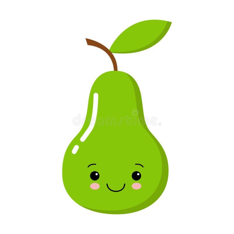 Милая груша зеленого цвета мультфильма со стороной kawaii Clipart, стикер, карта, печать, scrapbooking, для продуктов детей иллюстрация штока