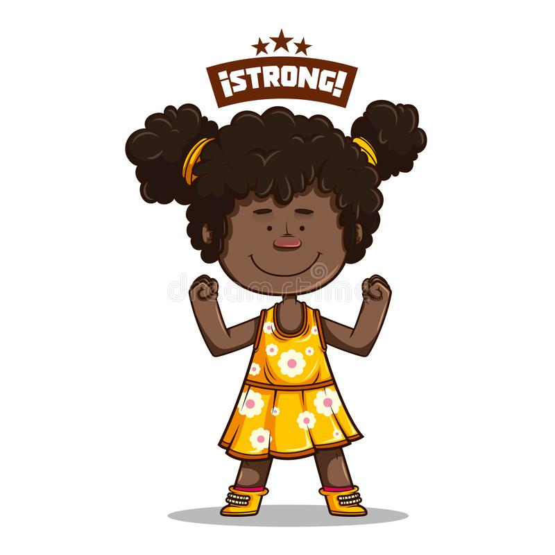 Милая девушка Афро усмехаясь с желтым платьем иллюстрация штока