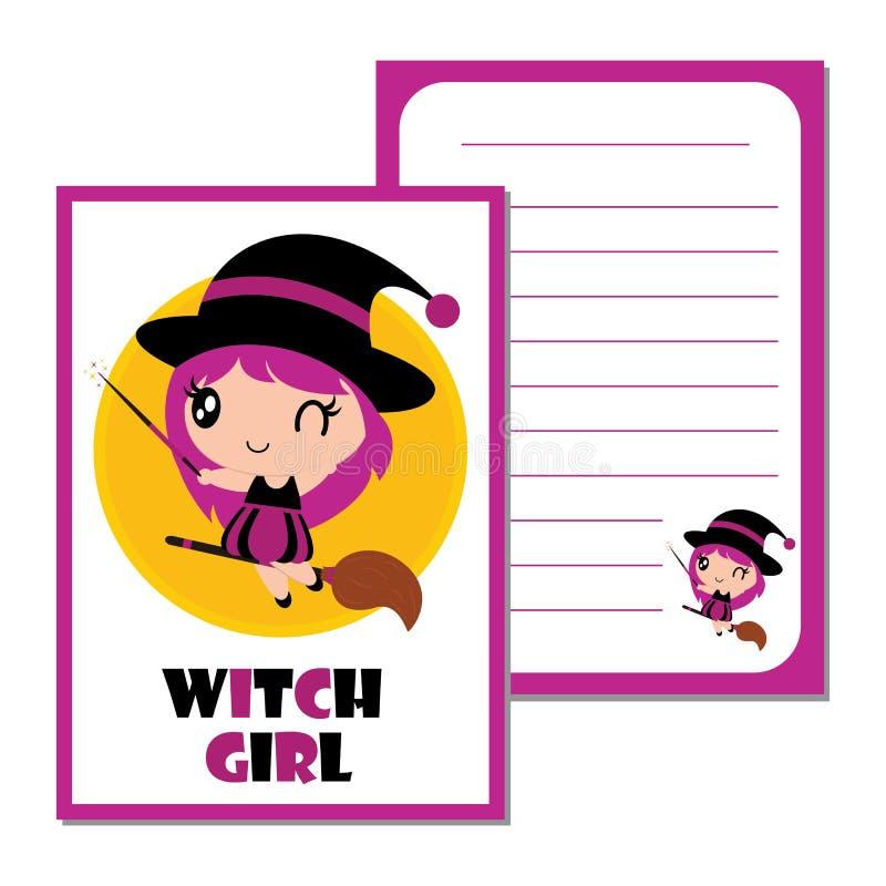 Милая девушка ведьмы с волшебной иллюстрацией шаржа веника для дизайна бумаги хеллоуина иллюстрация вектора