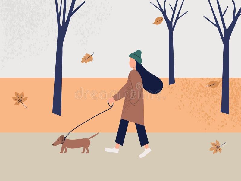 Милая девушка идя самостоятельно с собакой в парке на осени Ландшафт падения успокаивая Красочная иллюстрация вектора в плоском с бесплатная иллюстрация